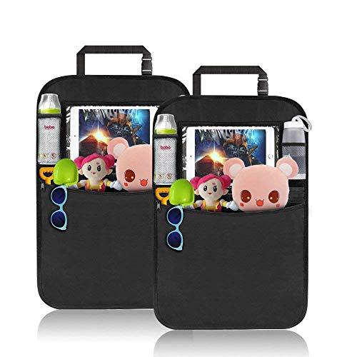 Komake Auto Rückenlehnenschutz [2 Stück], Wasserdicht Rückenlehnenschutz Auto Rücksitz Organizer für Kinder Multifunktionen Rückenlehnen-Tasche mit iPad-Tablet-Halter Kick-Matten-Schutz für Auto
