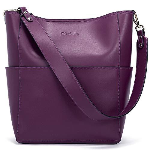 BOSTANTEN Women's Leather Designer Handbags Tote Purses Shoulder Bucket Bag Purple