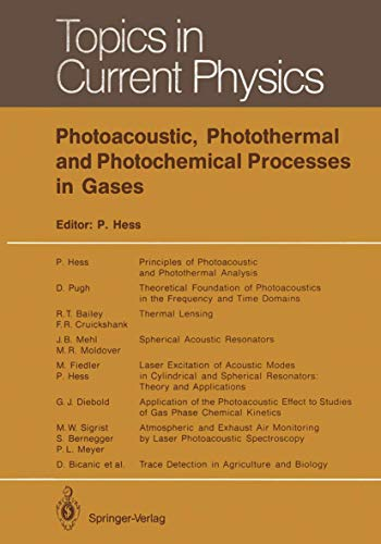 Photoacoustic, Photothermal and Photochemical Processes in Gases (Topics in Current Physics (46), Band 46)