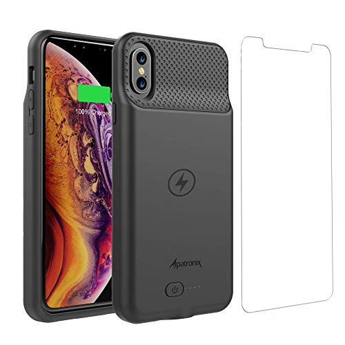 Alpatronix 5000mAh Battery Case with Wireless Charging Compatible for iPhone XR (6.1-inch) (Black)