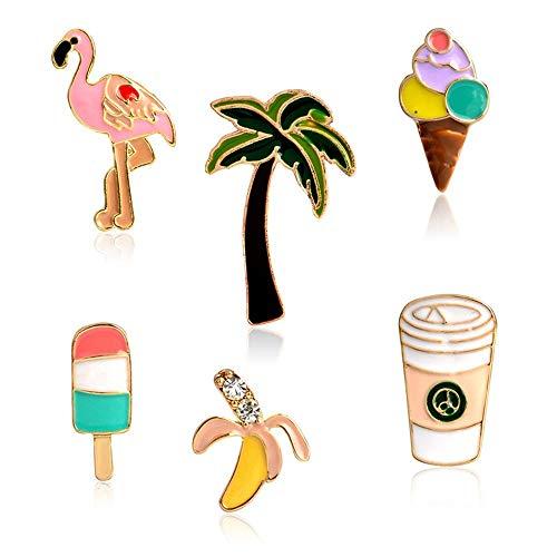 MAXGOODS 6 Stücke Broschen - Flamingo Kokosnuss Palmen EIS am Stiel Banane Kaffee Brosche, Taste Pins Abzeichen Schmuck Dekor für Kragen der Jacke