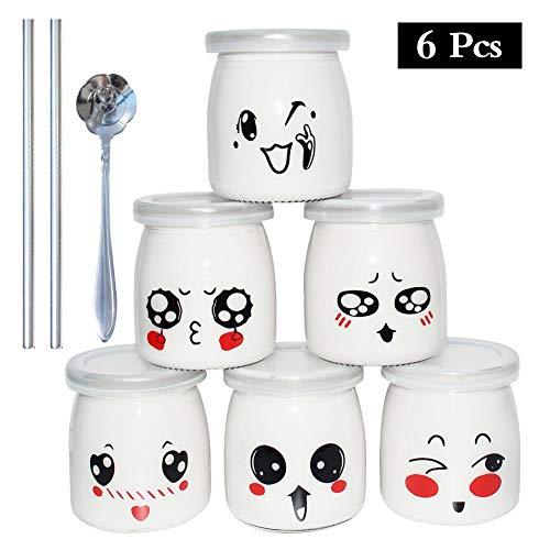 Yangbaga Joghurtgläser 6 Gläser mit Deckel, Gläser für Vorspeisen und Desserts, mit Löffel, edelstahlem Strohhalm, ideal zum Anrichten und Präsentieren von Speisen, 200ml