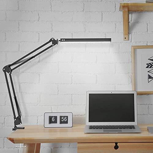 Lámpara de escritorio LED, regulable, arquitecto, con brazo giratorio, 12 W, lámpara de mesa de oficina con 3 temperaturas de color y 10 niveles de brillo, 3000 K-6000 K, protección para los ojos