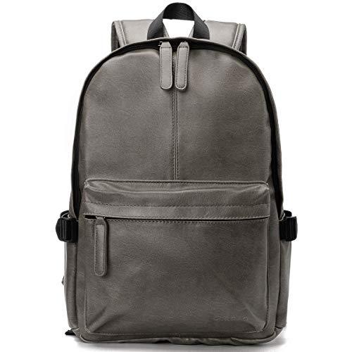 OB OURBAG Unisex Rucksack, PU Leder Rucksäcke Herren Damen Elegant Schulrucksäcke für Manner Teenager Schultasche Büchertasche Schultertasche für Reise Einkaufen Wandern (Grau)
