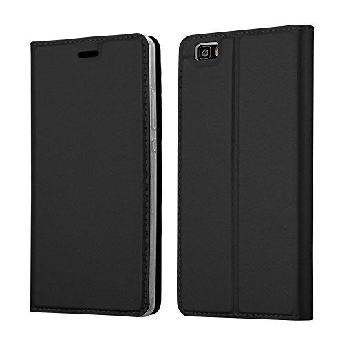 Cadorabo Funda Libro para Huawei P8 Lite en Classy Negro - Cubierta Proteccíon con Cierre Magnético, Tarjetero y Función de Suporte - Etui Case Cover Carcasa