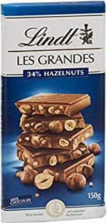 Lindt Les Grandes Milk Hazel Nut Chocolate, 150 gm (Pack of 1)
