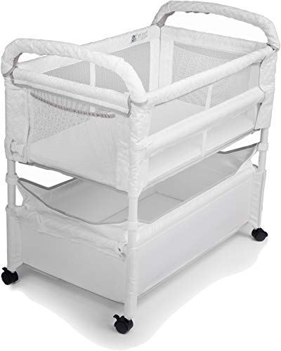 Arm's Reach Clear-Vue Co-Sleeper Bassinet for Bed Attachment with Adjustable Height, for Newborns and Infants, Convertible from Bedside to Freestanding Baby Crib, White