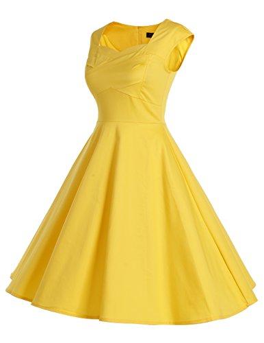 Dresstells 50er Retro Audrey Hepburn Schwingen Pinup Polka Dots Rockabilly Kleid Black 2XL - 3