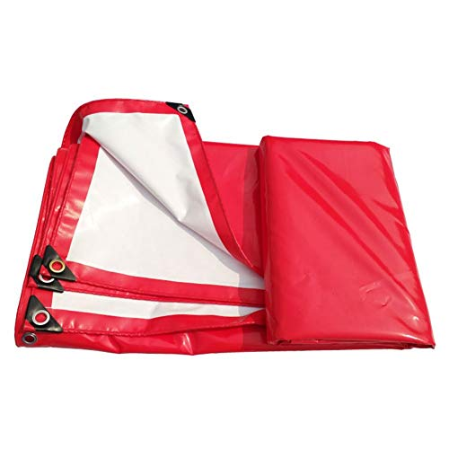 JUNYYANG Rojo y blanco de PVC de doble capa a prueba de agua pesada engrosamiento del pabellón de protección solar contra los rayos UV en frío for acampar al aire libre Pesca picnic abrigo de la tiend