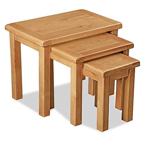 RoselandFurniture Zelah Oak Nest of Tables | 3 Nesting Occasional Tables | Solid Wood Side Tables | Set of Tables for Living Room, Hallway, Dining Room