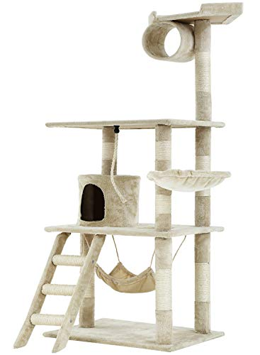 BestPet Medium Cat Tree Cat Tower Cat Condo Cat Activity Tree Playground Cage Kitten Multi-Level 64 inches Play House Scratching Post Furniture with Hammock,Beige
