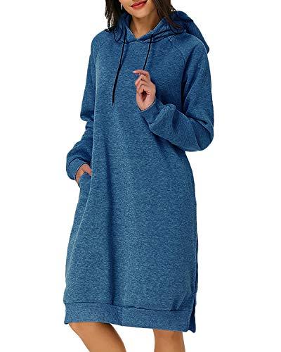 Kidsform Damen Hoodie Pullover Kapuzenpullover Herbst Pulli Kleider Sweatjacke Jumper Lange Sweatshirt Blau XXL