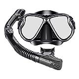Perfeclan Set de Snorkel seco, máscara de Buceo Snorkel para Adultos de Vidrio Templado Gafas de natación de Silicona Conjunto de máscara de - Negro
