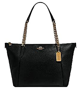 Coach Women's Ava Pebbled Leather Chain Tote (Black/Gold) by