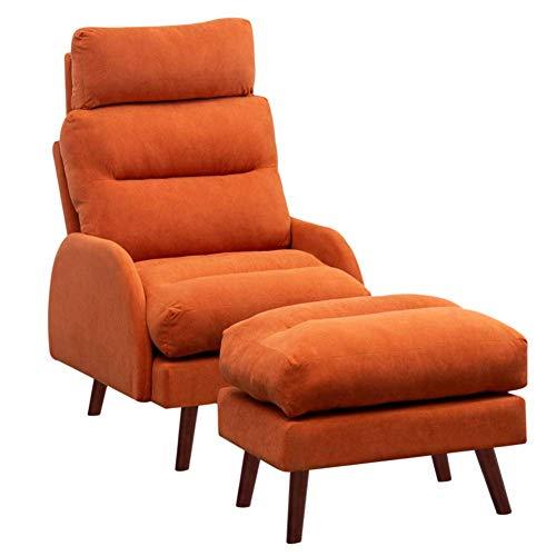 Sillón reclinable Naranja con reposapiés sillón reclinable de Terciopelo sillón con Respaldo Alto 3 Posiciones sillón reclinable Ajustable para Sala de Estar Dormitorio (Naranja)