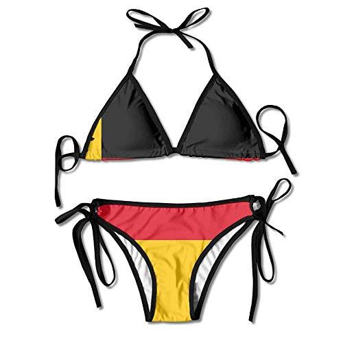 Felsiago German Flag Bikini Damen Sommer Badebekleidung Triangle Top Bikinis Badeanzug 2-teiliges Set