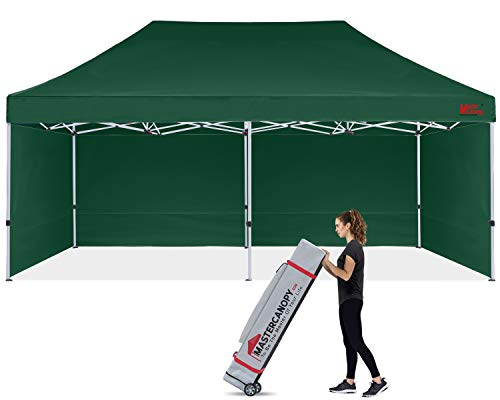 MASTERCANOPY Durable Pop-up Canopy Tent 10x20 Heavy Duty Instant Canopy with Sidewalls (Forest Green)