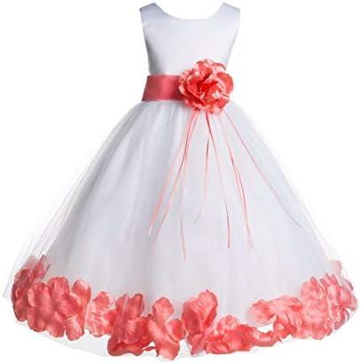 White Tulle Floral Rose Petals Junior Flower Girl Dress Christening Dress 007 10 product image