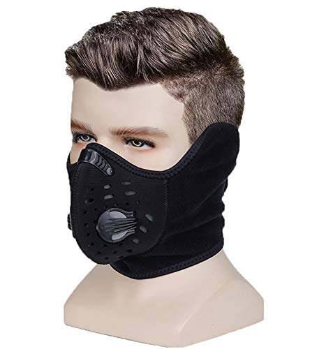 Balaclava Windproof Half Mask, Polar Fleece, Suitable for Outdoor Activities in Winter, Cycling, Motorcycles, Running (Black Half face Balaclava)
