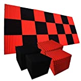 96 Pack BLACK Acoustic Foam Panel Wedge Studio Soundproofing Wall Tiles 12' X 12' X 1' (96BLACK/RED)