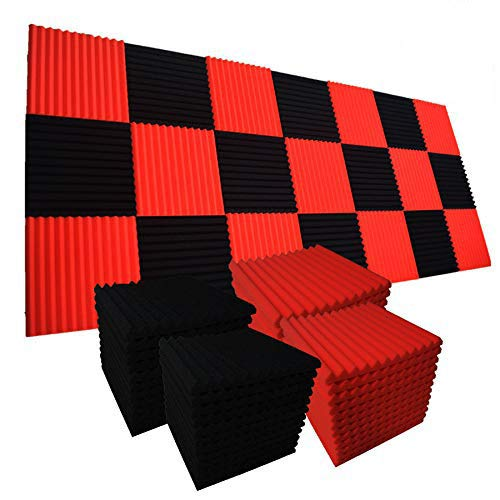 48 Pack BLACK RED Acoustic Foam Panel Wedge Studio Soundproofing Wall Tiles 12 X 12 X 1