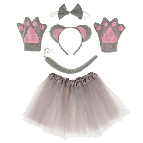 FLAMEER Satz von 5 Stück Maus Kinderkostüm - Mäuschen Kostüm - Mauskostüm inkl. Stirnband, Fliege, Schwanz, Handschuhe