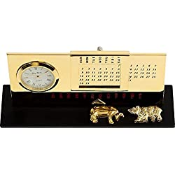 Stock Market Gold Plated Perpetual Calendar & Clock