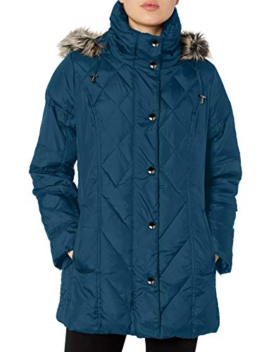 LONDON FOG Women's Diamond Quilted Down Coat, Norweigian, Large