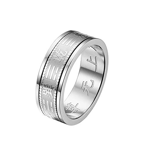 HIJONES Herren Edelstahl Taoistische Mantra Amulett Ring Feng Shui Bagua Balance Band 6mm Silber Größe 62