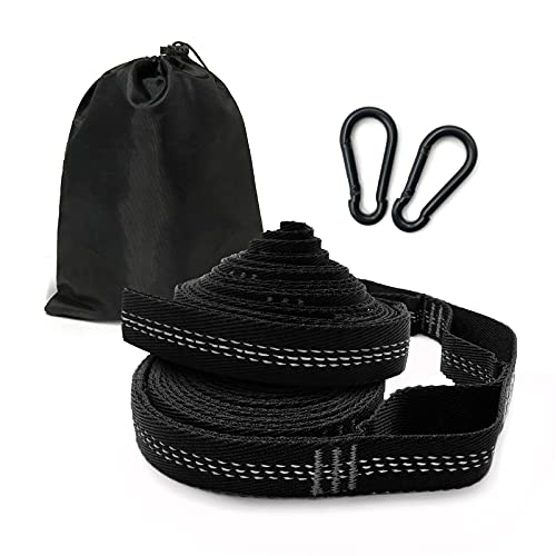 Hammock Strap with Carabiners – 8ft Strap Camping Hammock, Holds 2800 lbs, 15+1 Loops, Fast & Easy Way to Hang Any Hammock, Swing