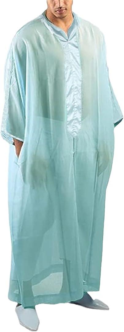 Men 3/4 Sleeve V Neck Mesh Robes Loose Patchwork Muslim Caftan Robes Clothing
