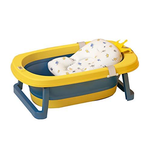 Faltbar Babybadewanne faltbare Neugeborenenbadewanne mit intelligentem Echtzeit-Temperatursensor Kinderbadewanne mit Sicherheitsbadesitz babybadewanne mit ständer (Dunkelblau+Gelb)
