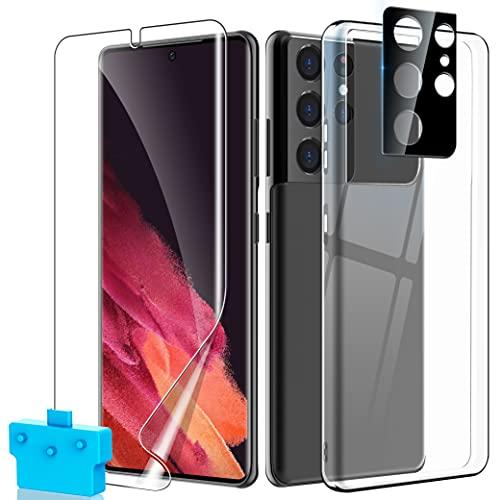 UniqueMe [3 Pack] 1 Schutzhülle für Samsung Galaxy S21 Ultra Hülle, 1 Bildschirmschutz Schutzfolie und 1 Kamera Panzerglas, HD Klar Folie Blasenfrei, Weiche TPU Silikon Hülle Cover - Transparent
