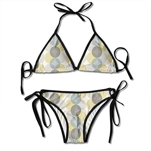 Neckholder Bademode Plunge Bikini Blume des Lebens Design Vintage Fifties Midcentury Atomic Art Bewegung inspiriert Bikini Badeanzug schwarz