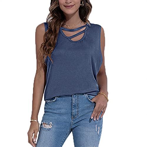 FrüHling Und Sommer Damen Casual Fashion Rundhals Einfarbig UnregelmäßIge Lose äRmellose Weste T-Shirt Bottoming Top Damen