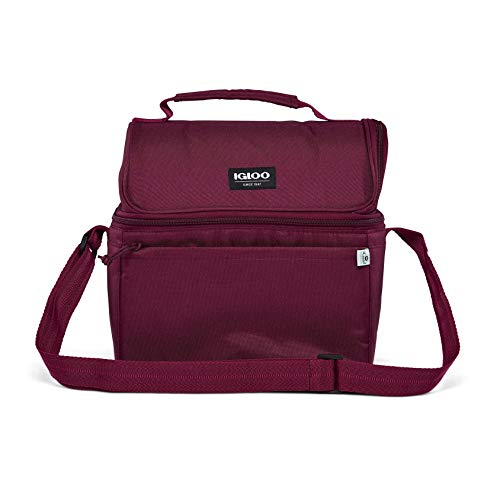 Igloo Repreve 14 Can Portable Insulated Recycled Outdoor Lake Work Food Drink Soft Sided Cooler Lunch Pail Bag with Strap, Cherry