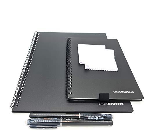Dreiklang 2er Set Klein/Groß wiederverwendbares smartes Notizbuch Schreibblock, schwarz, Exekutive DIN A4 und A 5 Linien, inklusive Stift und Microfasertuch