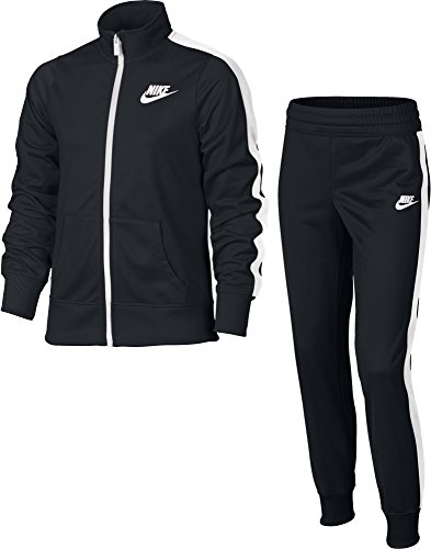 Nike Mädchen Track Suit Tricot Trainingsanzug, Black/White, L