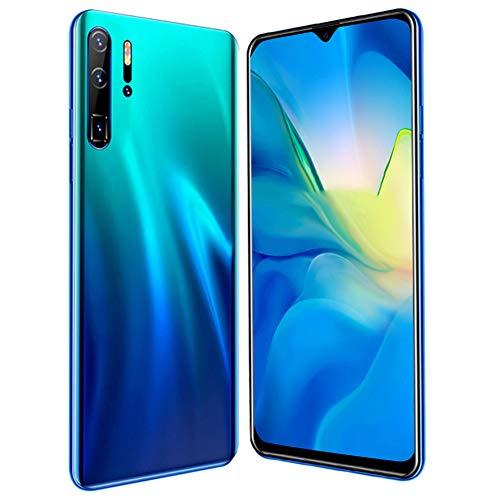 Teléfono inteligente MIQOO p30pro desbloqueado, teléfono inteligente Android de 6.3 pulgadas con tarjeta dual, teléfono con identificación facial, soporte para tarjeta de memoria de 128GB(Azul)