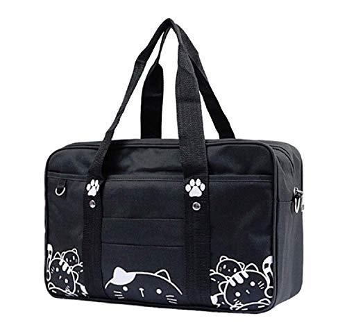 GK-O Japanese JK Uniform Bag Cute Cat Kawaii Lolita Handbag School Messenger Shoulder Bags (Black)