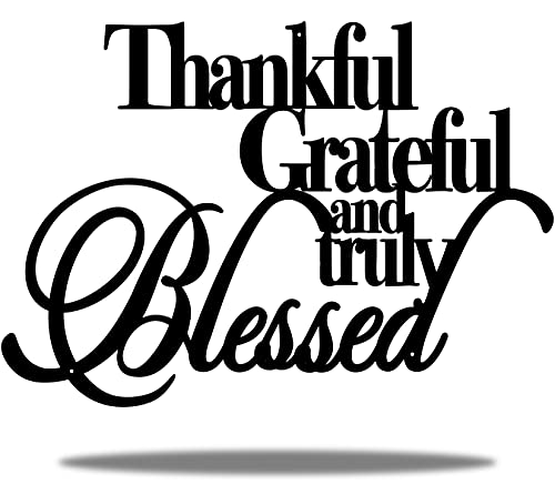 Vivegate Thankful Grateful Blessed Wall Decor – Home Thankful Iron Wall Decor Blessed Wall Signs for Home Decor Entry Way (Large - 18'X12')