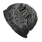 YYDSR Beanie Cap Viking Hammer of Thor Odin Crow Skull Cap para Hombres/Mujeres Sombrero Punto Moda Recreación Al Aire Libre,Thor Hammer Black