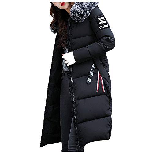 Damen Daunenjacke Steppjacke Winterjacke Wattierte Jacke Große Wolljacke mit Kapuze Koreanischer Stil Reißverschluss Jacke College-Mantel Lange Jacke Outwear mit Strumpfhosen Pumps (💜 Schwarz, XL)