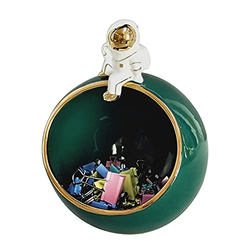 WXHXSRJ Adorno Creativo de Almacenamiento de Llaves de Astronauta de Resina, decoración de Mesa nórdica para el hogar, Regalos para Hombres,Verde