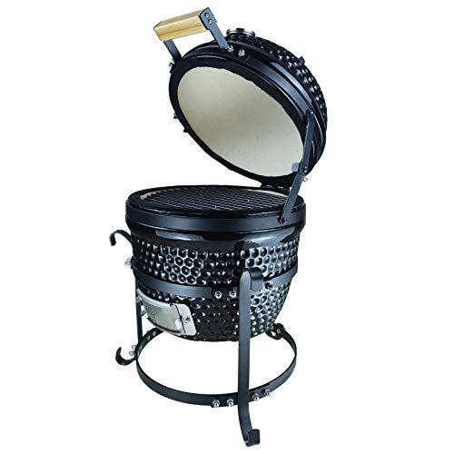 Outsunny Barbacoa Portátil de Sobremesa con Tapa Indicador de Temperatura Ventilación De Carbón 40.5x35x55 cm Negro