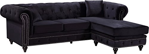 Meridian Furniture Sabrina REVERSIBLE 2 Piece Button Tufted Velvet Sectional with Scroll Arms, Nailhead Trim, and Custom Wood Legs, Black
