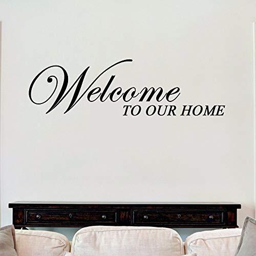 yaonuli muurstickers, motief: Welkom in ons huis, van vinyl, afneembare muurafbeelding, schoonheid, decoratie, woonkamer