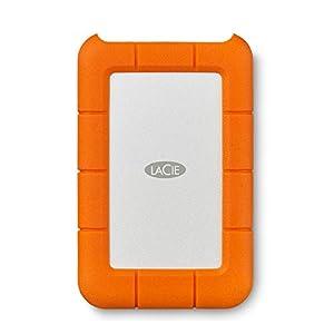LaCie Rugged, USB-C, 2 TB, Disco duro externo, HDD portátil, USB 3.0, unidad resistente a caídas, golpes, polvo y lluvia, para Mac y PC, suscripción de 1 mes a Adobe CC (STFR2000800)