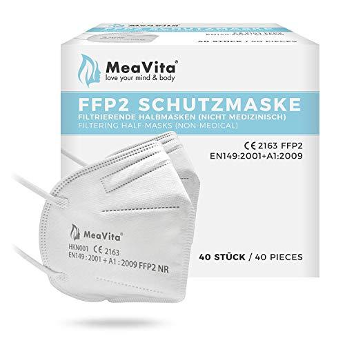 Mea Vita FFP2 Einweg Mund- und Nasenschutz, 40er Pack, Einweg Maske KN95, Gummizug