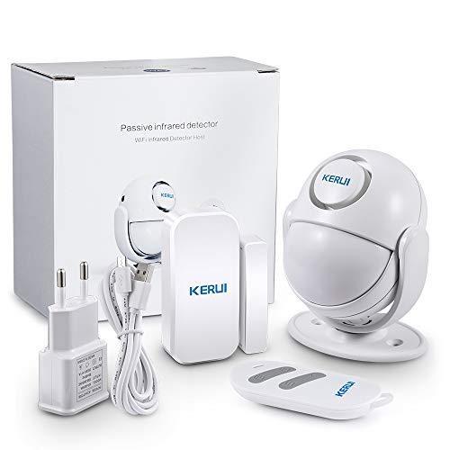 KERUI PIR Bewegungsmelder Alarmanlage mit 1 Bewegungssensor 1 Fernbedienung und 1 Tür Fenster-Drahtlos-125 dB Erweiterbar-Sirenen, WiFi Alarmanlage Einbruchschutz, Infrarot Bewegungssensor (WP7)